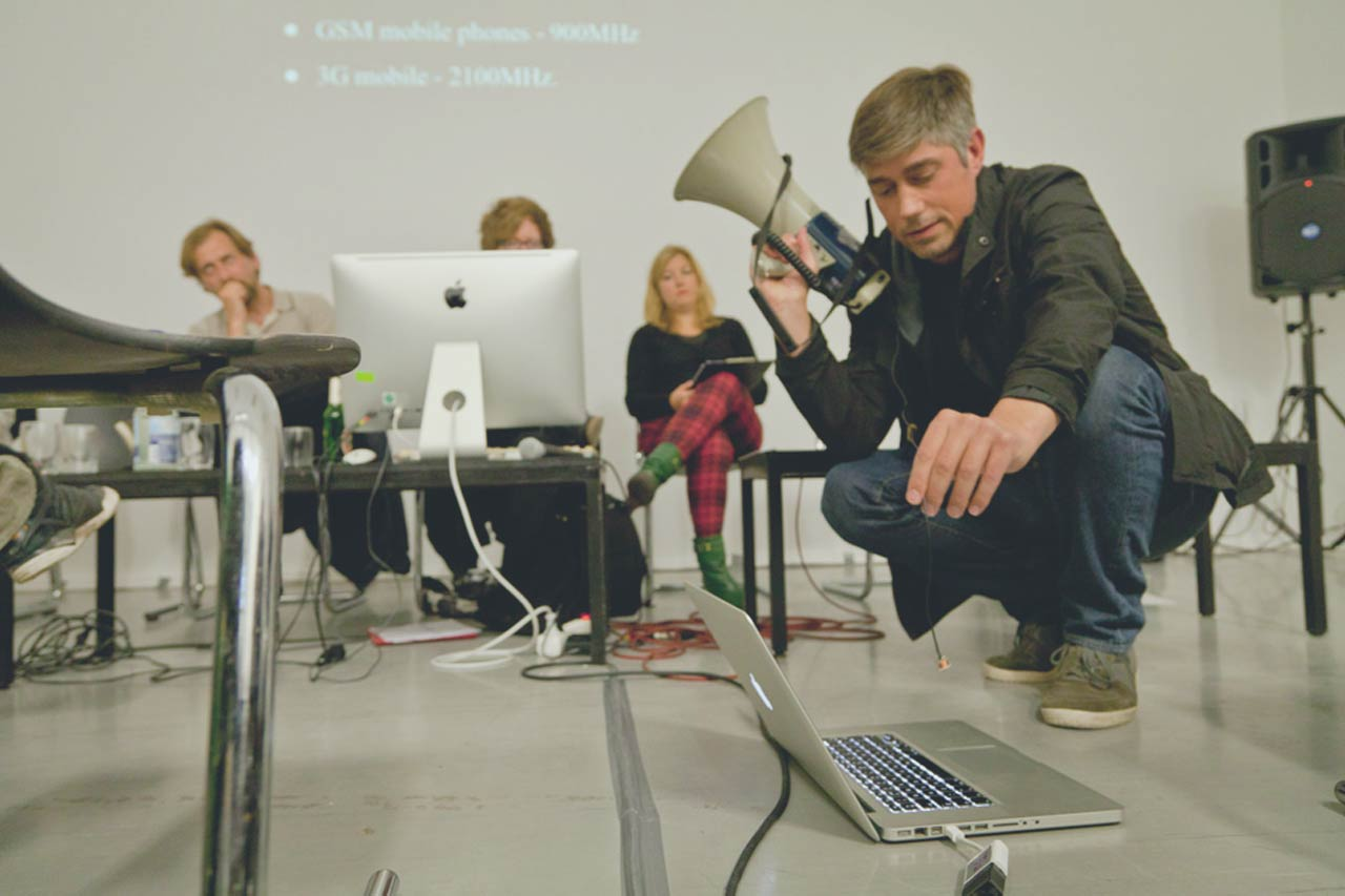 John Wild performing at transmedialie, Berlin