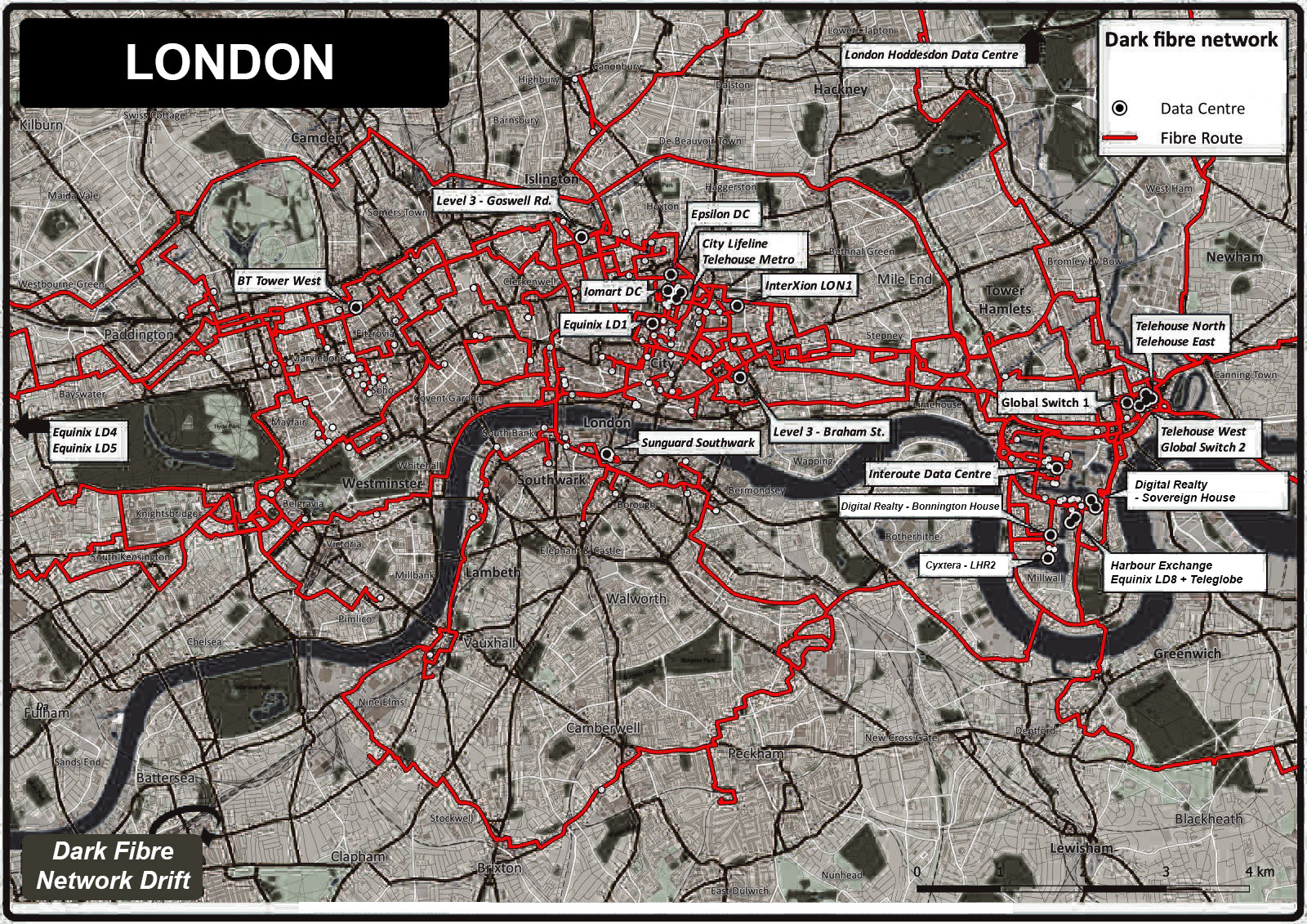Map of the London Dark Fibre Network