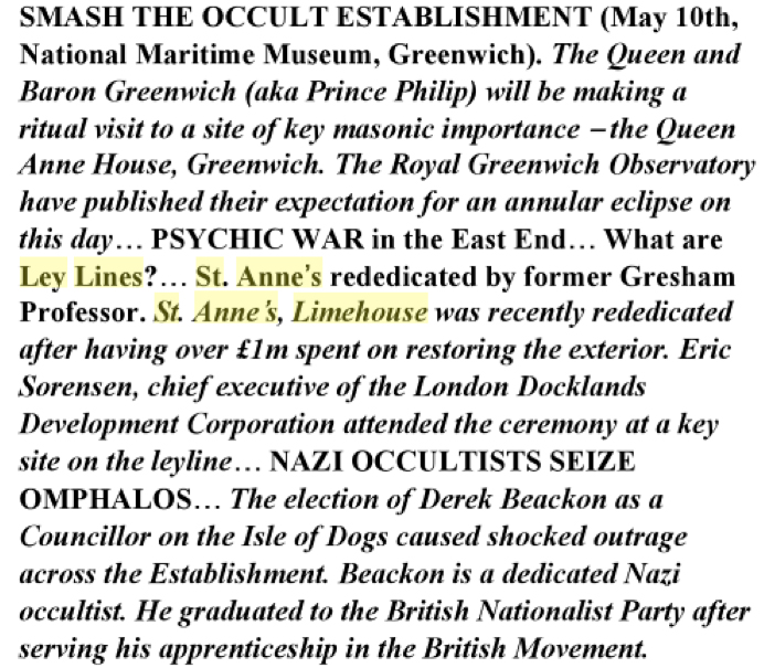 London Psychogeographical Association 1994 leaflet titled 'Nazi Occultists Seize Omphalos'