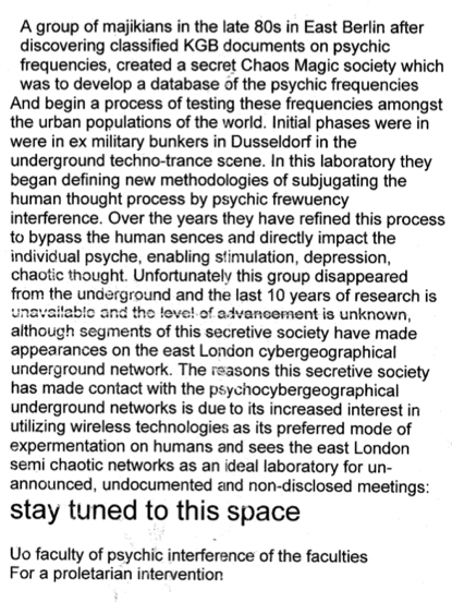Description of the East London Cybergeografical Underground Network reprinted from the bulletin of the University of Openness