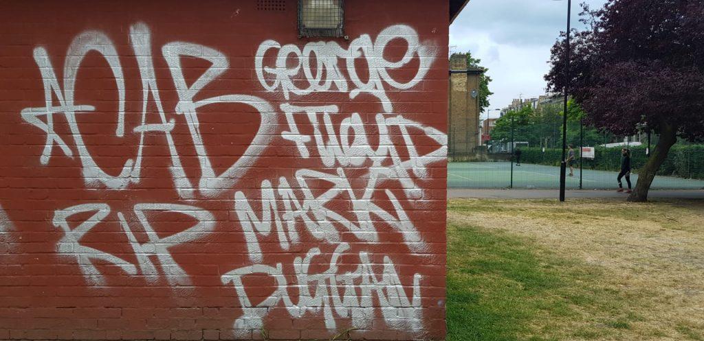 Black Lives Matter graffiti in London Fields Hackney